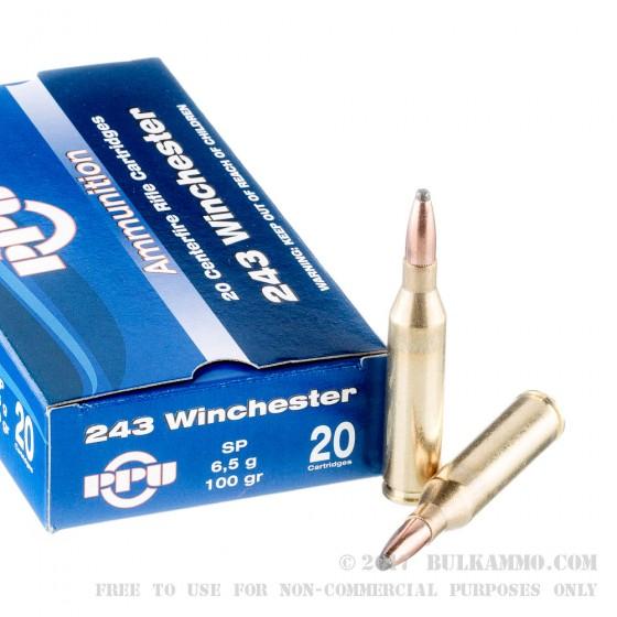 Caja Munición Cal.243 WINCHESTER SP 100GRS PRVI( 20 unidades )