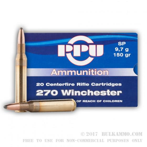 Caja munición Cal.270 WINCHESTER SP 150GRS PRVI ( 20 unidades )