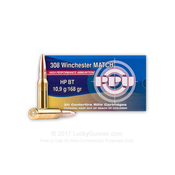 Caja munición Cal.308 HPBT /168 PRVI ( 20 unidades )